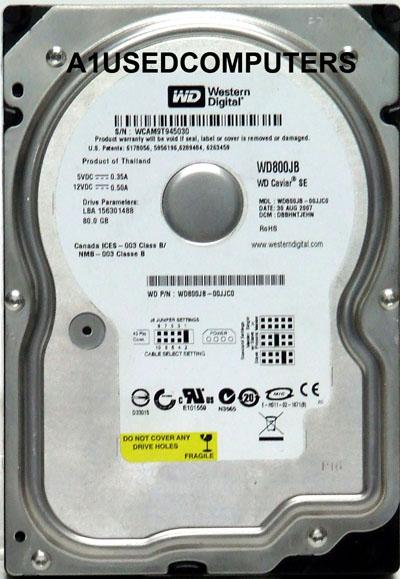 WD800JB00CRA1 WD WD800JB-00CRA1 WD 80GB IDE HARD DRIVE