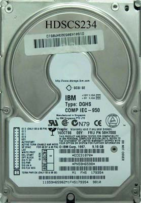 IBM 59H7000 9.1Gb 80pin SCSI LVD/SE Hard Drive