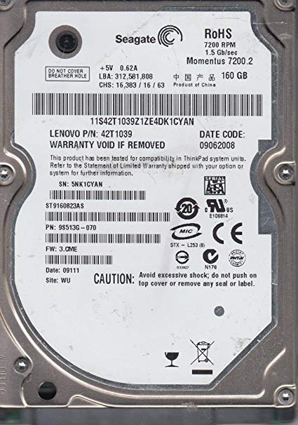 160Gb Seagate Momentus ST9160823AS 98513G-070 7.2k