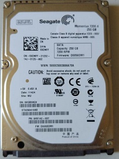 250Gb Seagte Momentus ST9250410AS 9HV142-025  5.4k