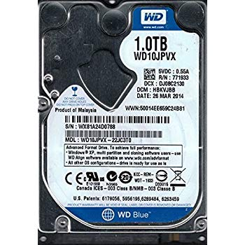 1Tb WD Blue WD10JPVX--22JC3T0 5,400rpm